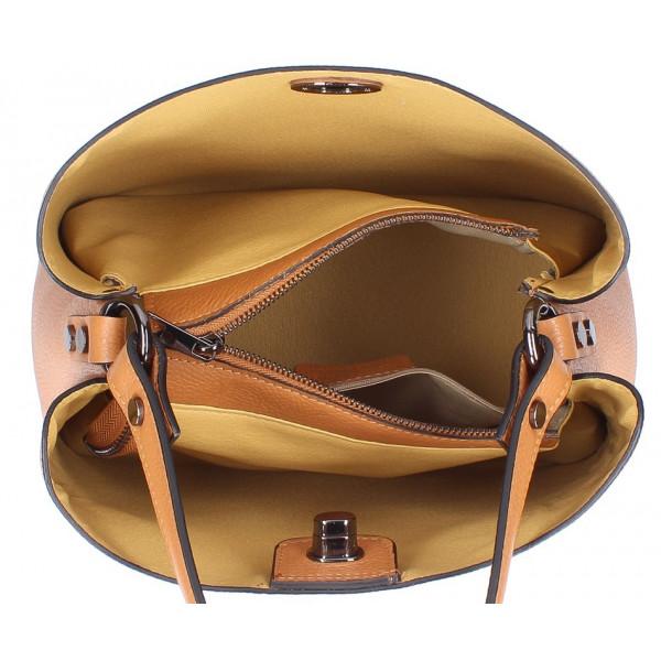 Kožená kabelka do ruky 232 okrová MADE IN ITALY Okrová