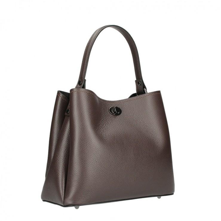 Genuine Leather Handbag 232 dark brown MADE IN ITALY