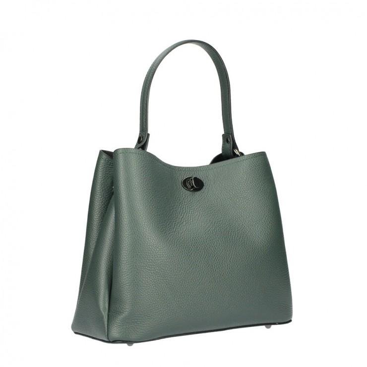 Genuine Leather Handbag 232 dark green MADE IN ITALY