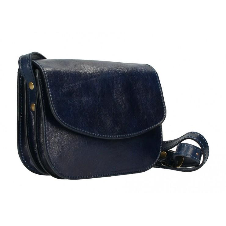 Kožená kabelka na rameno MI896 tmavomodrá Made in Italy