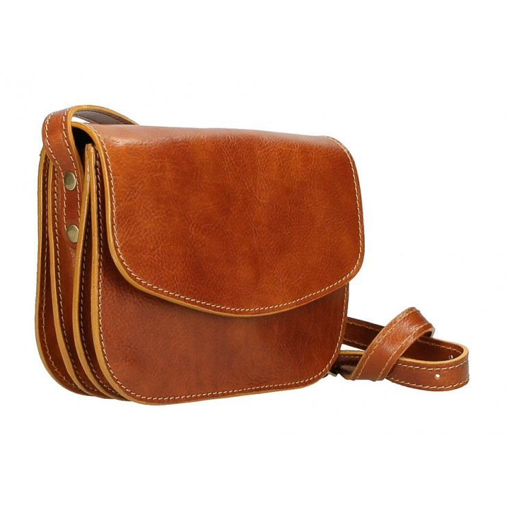Kožená kabelka na rameno MI896 koňaková Made in Italy