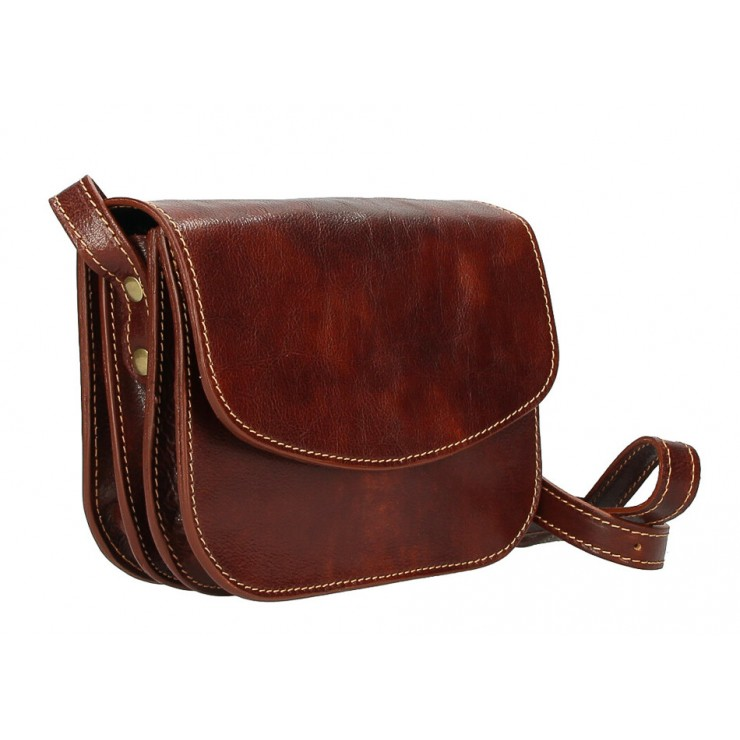 Leather messenger bag MI896 brown Made in Italy