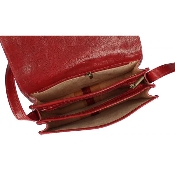 Kožená kabelka na rameno MI896 hnedá Made in Italy