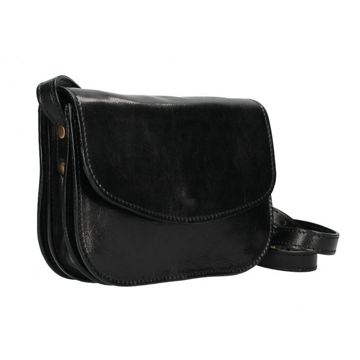 Kožená kabelka na rameno MI896 čierna Made in Italy