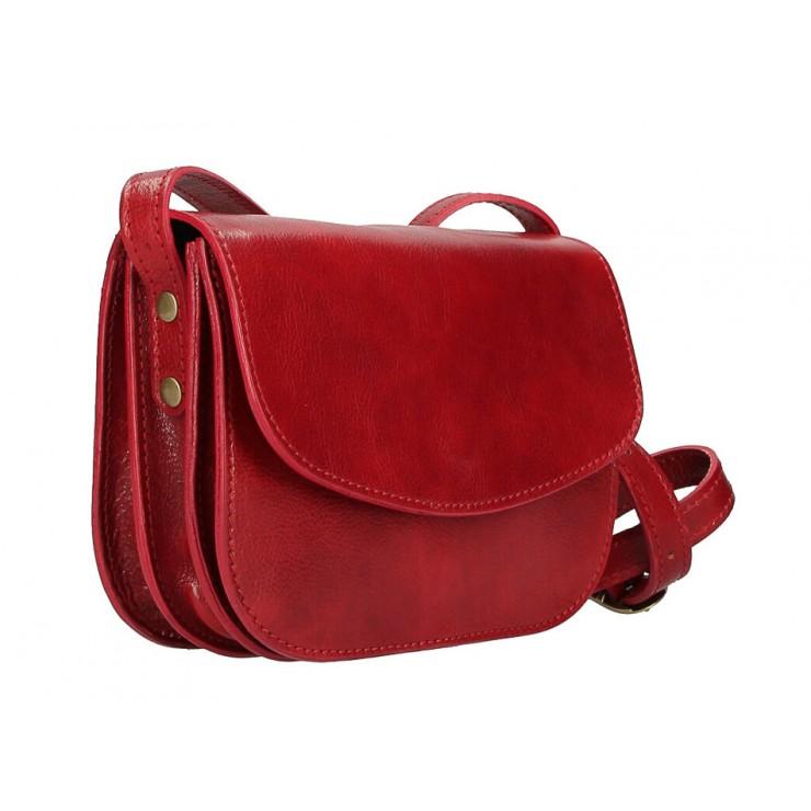 Kožená kabelka na rameno MI896 rudá Made in Italy
