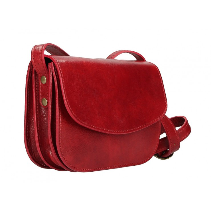 Leather messenger bag MI896 red Made in Italy