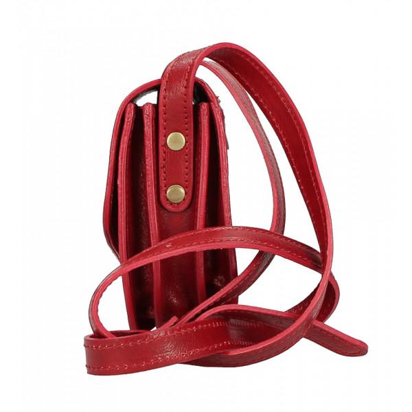 Kožená kabelka na rameno MI896 červená Made in Italy