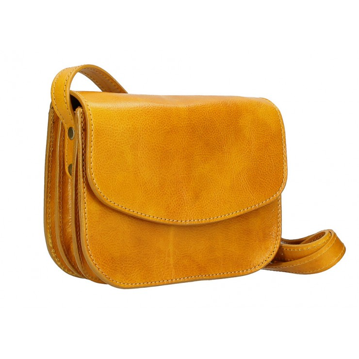 Leather messenger bag MI896 mustard Made in Italy