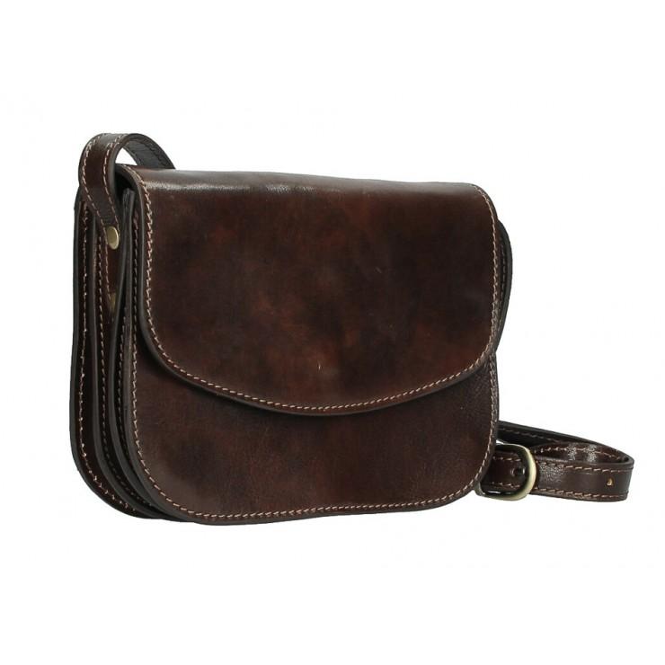 Kožená kabelka na rameno MI896 tmavohnedá Made in Italy