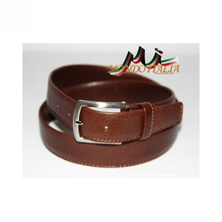 Men leather belt 795 brown Made in Italy