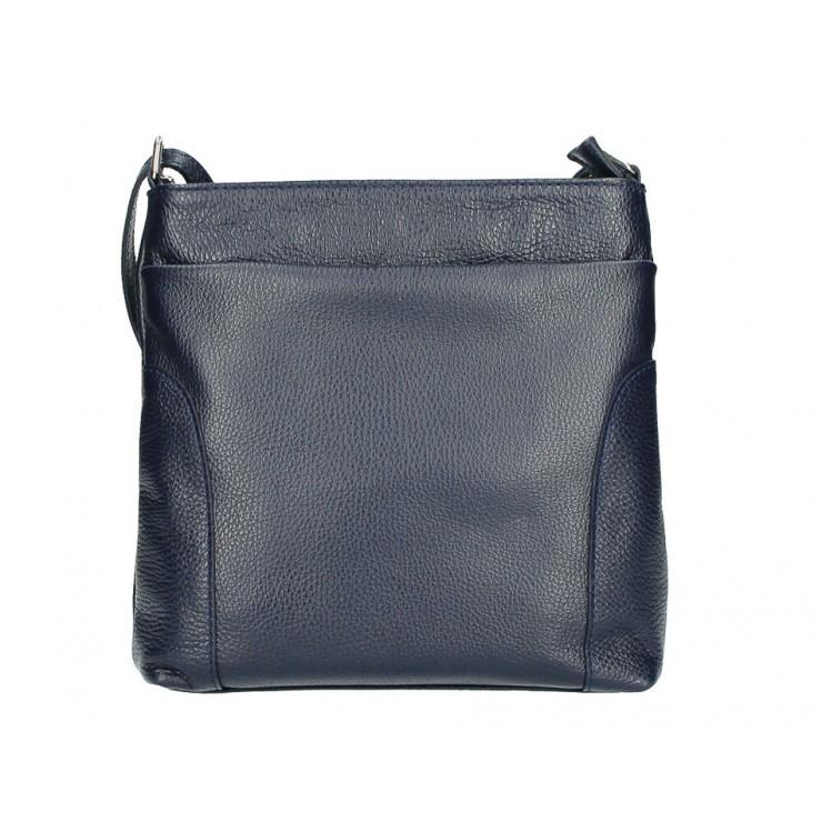 Kožená kabelka na rameno MI1162 tmavě modrá Made in Italy
