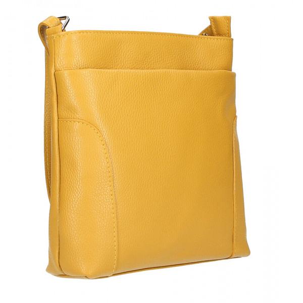 Kožená kabelka na rameno MI1162 tmavomodrá Made in Italy