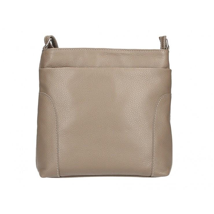 Kožená kabelka na rameno MI1162 tmavá šedohnědá Made in Italy