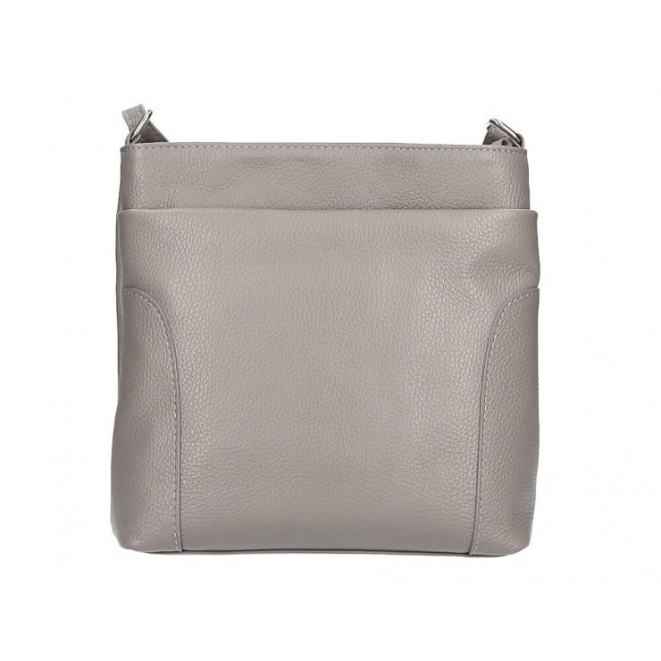 Kožená kabelka na rameno MI1162 tmavě šedá Made in Italy