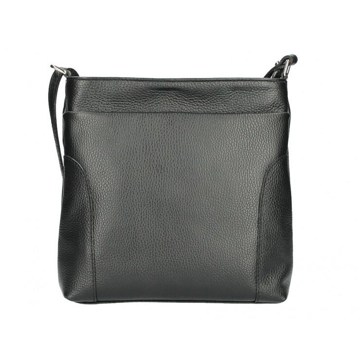 Kožená kabelka na rameno MI1162 černá Made in Italy