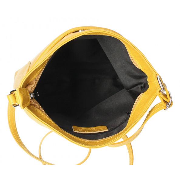 Kožená kabelka na rameno MI1162 čierna Made in Italy
