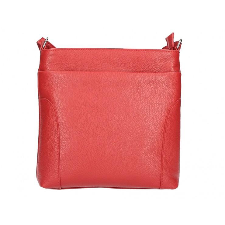 Kožená kabelka na rameno MI1162 rudá Made in Italy