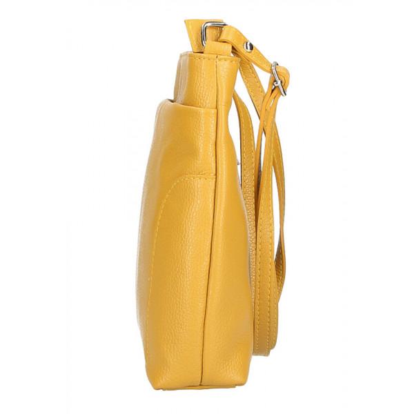 Kožená kabelka na rameno MI1162 okrová Made in Italy