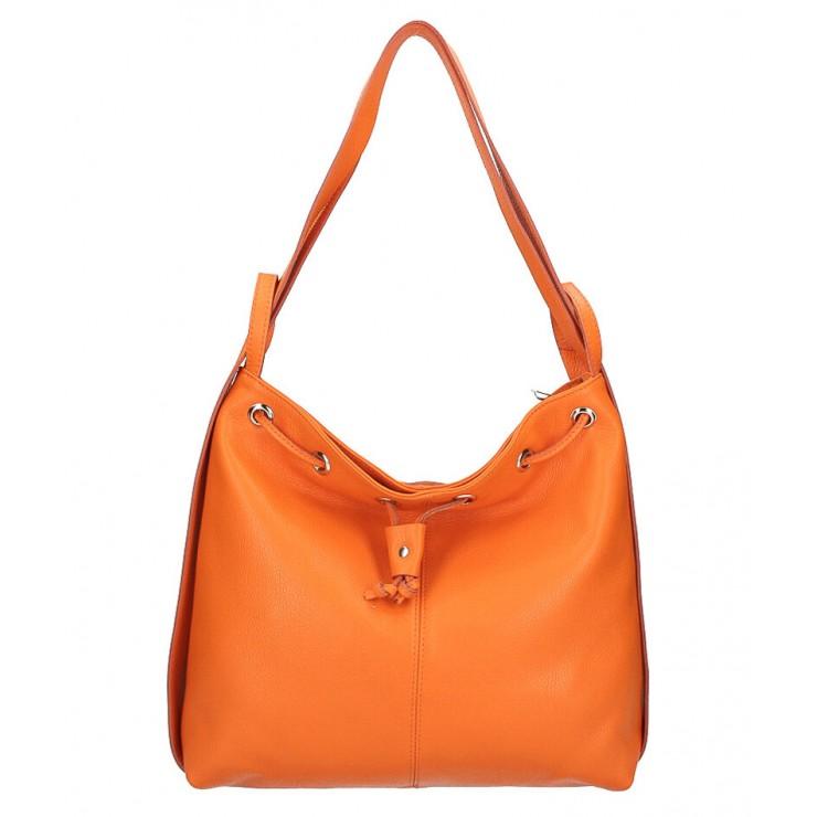 kožená kabelka na rameno/batoh MI1009 oranžová Made in Italy