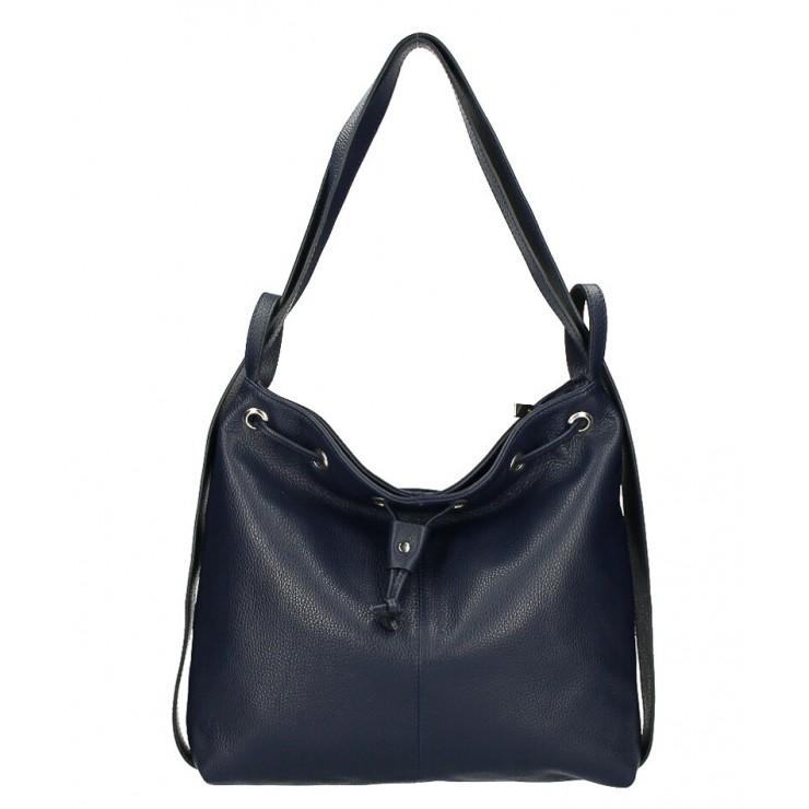Kožená kabelka na rameno/batoh MI1009 tmavomodrá Made in Italy