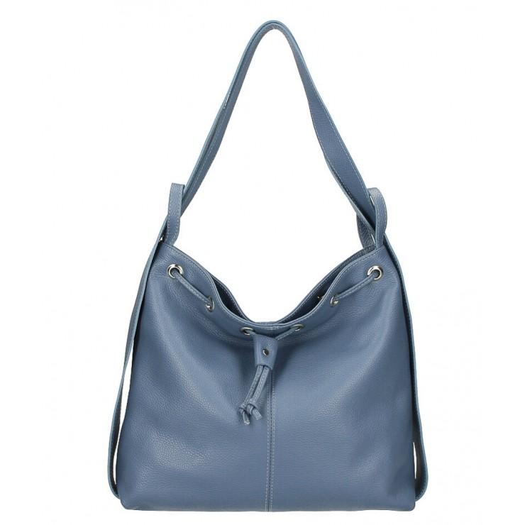 Leather shoulder bag/Backpack MI1009 light blue Made in Italy