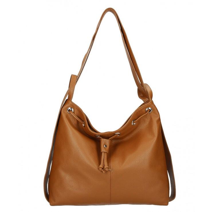 Leather shoulder bag/Backpack MI1009 cognac Made in Italy