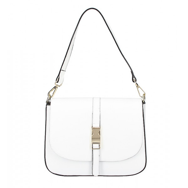 Biela kožená kabelka na rameno 589