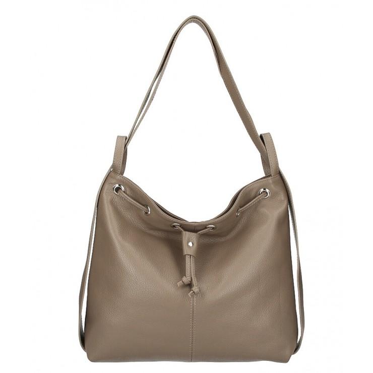 Leather shoulder bag/Backpack MI1009 dark taupe Made in Italy