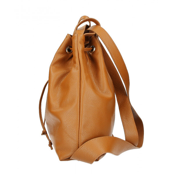Kožená kabelka na rameno/batoh MI1009 tmavo šedohnedá Made in Italy