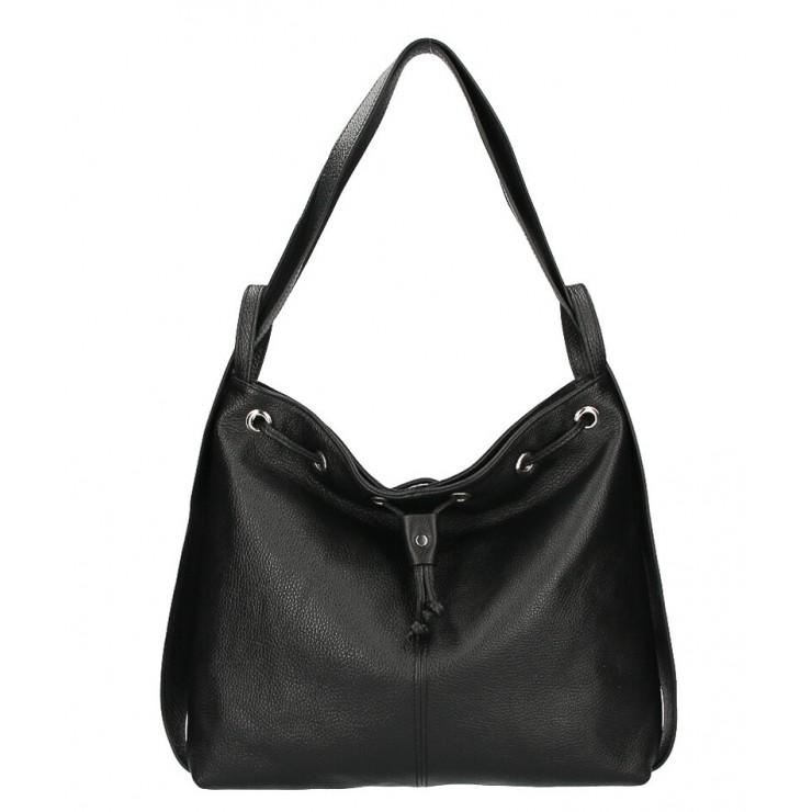 Kožená kabelka na rameno/batoh MI1009 čierna Made in Italy