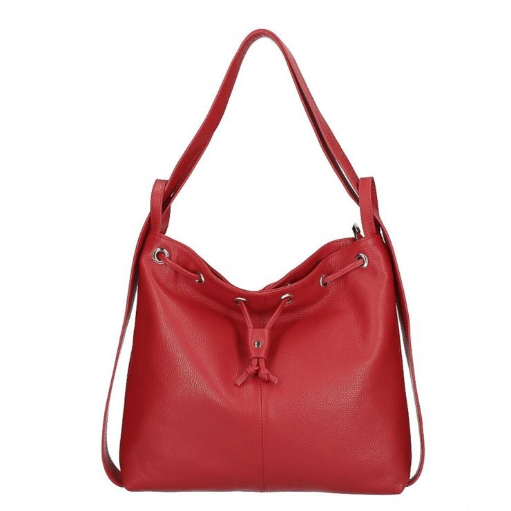 Kožená kabelka na rameno/batoh MI1009 červená Made in Italy