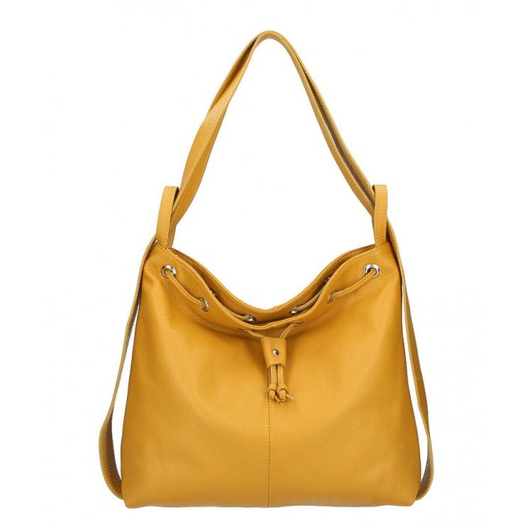 Leather shoulder bag/Backpack MI1009 mustard Made in Italy