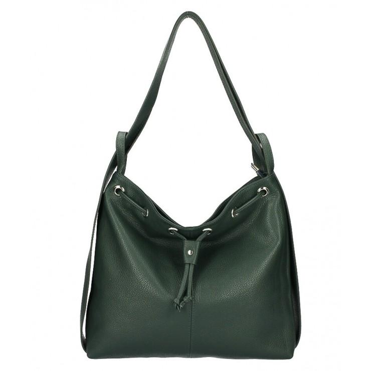 Leather shoulder bag/Backpack MI1009 dark green Made in Italy