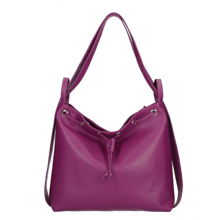 Leather shoulder bag/Backpack MI1009 purple Made in Italy