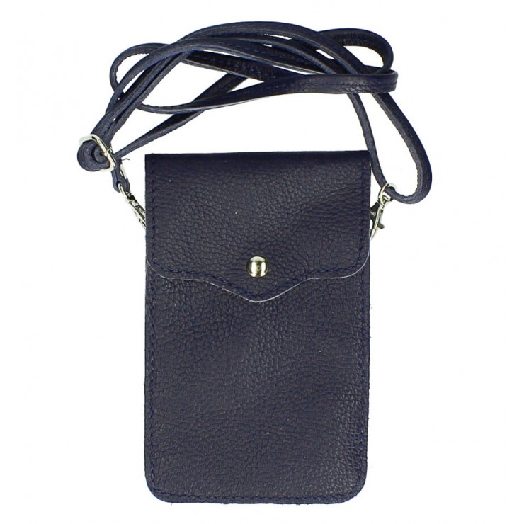Leather strap pocket for Mobile MI895 dark blue Made in Italy