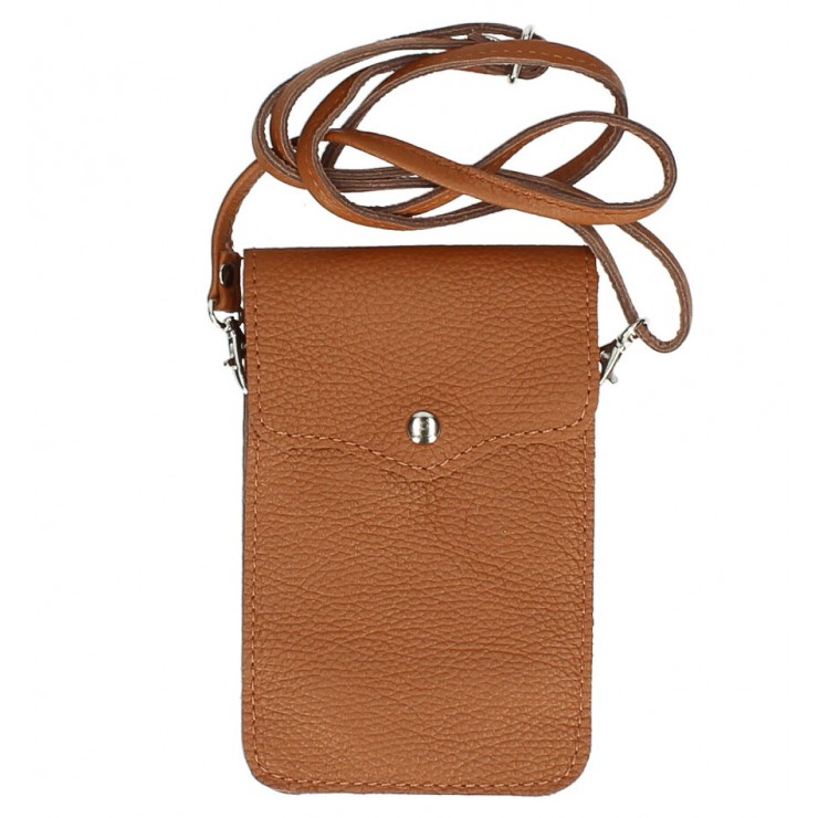 Leather strap pocket for Mobile MI895 cognac Made in Italy
