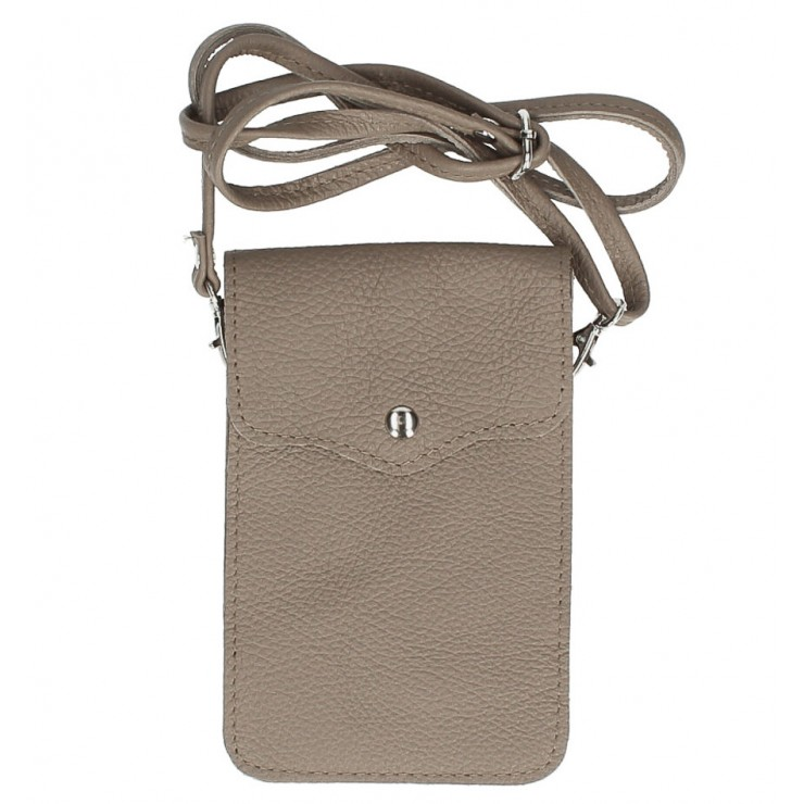 Leather strap pocket for Mobile MI895 dark taupe Made in Italy