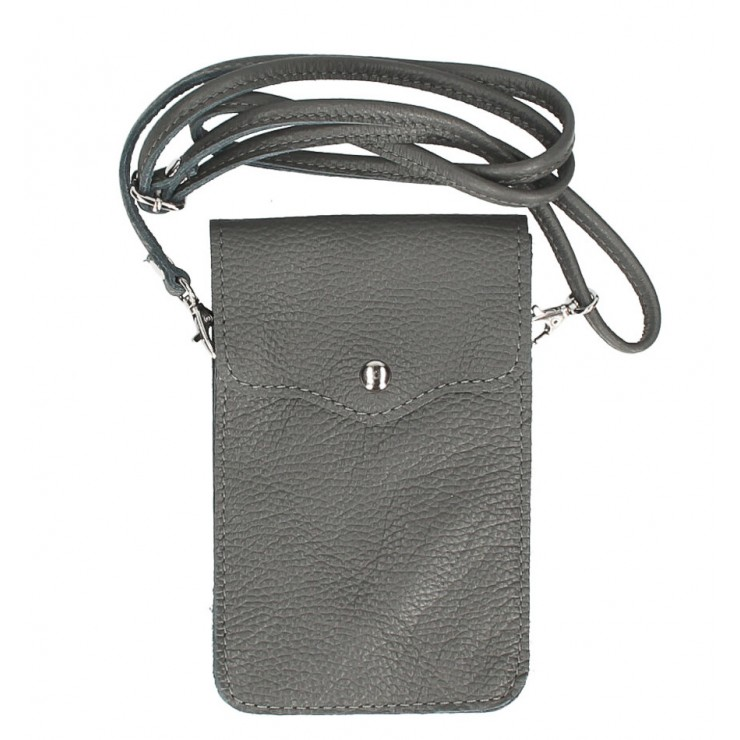 Leather strap pocket for Mobile MI895 dark gray Made in Italy