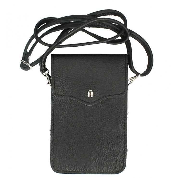 Leather strap pocket for Mobile MI895 black Made in Italy