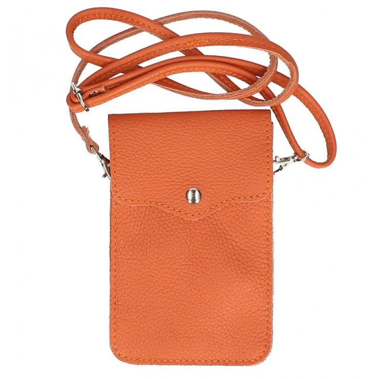 Kožené pouzdro na mobil MI895 oranžové Made in Italy