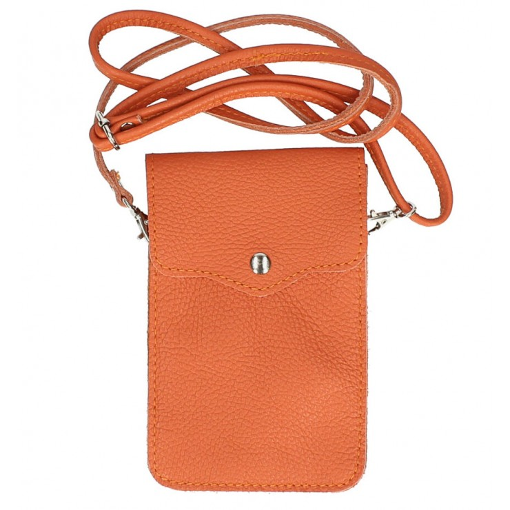 Leather strap pocket for Mobile MI895 orange Made in Italy