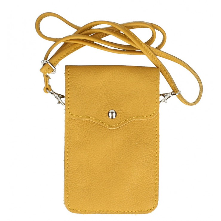Leather strap pocket for Mobile MI895 mustard Made in Italy