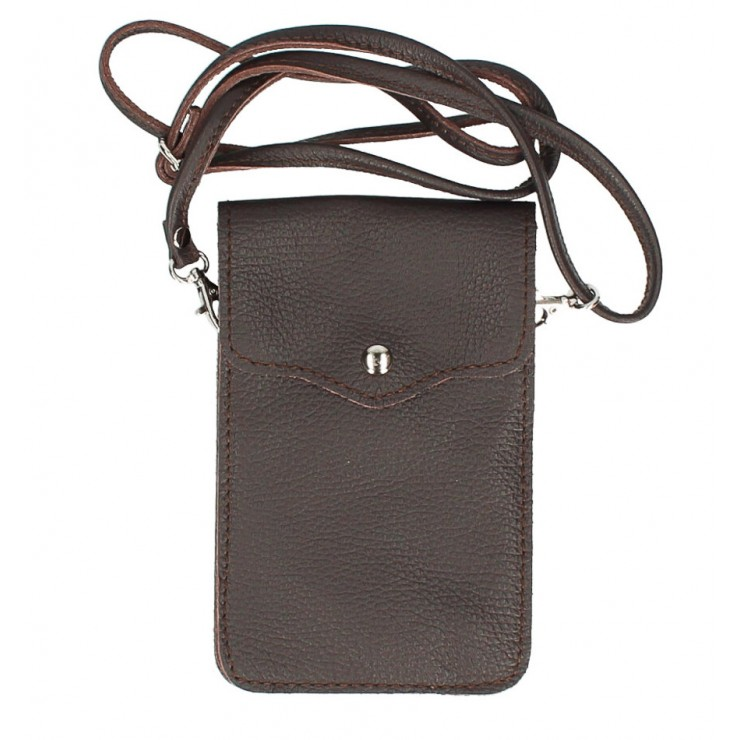 Leather strap pocket for Mobile MI895 dark brown Made in Italy