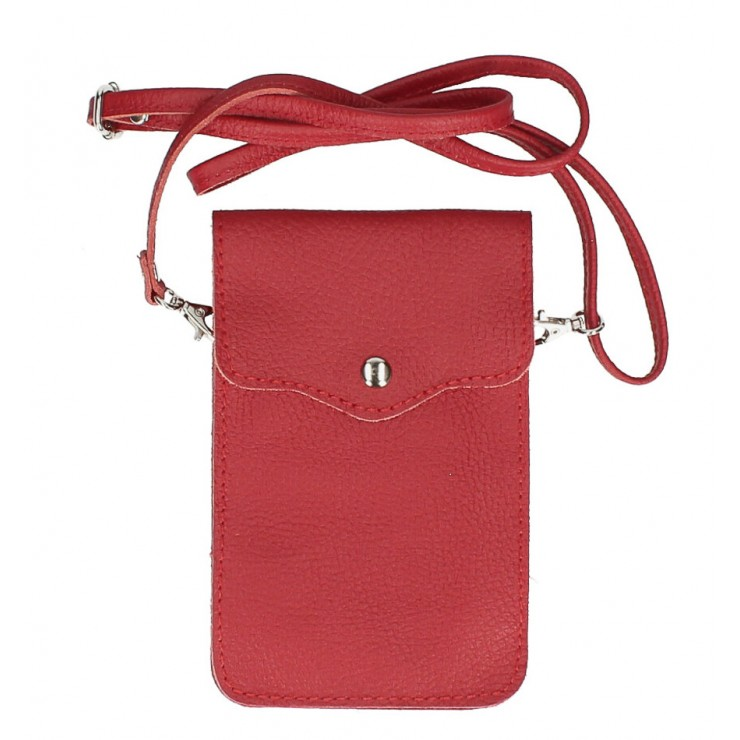 Leather strap pocket for Mobile MI895 red Made in Italy