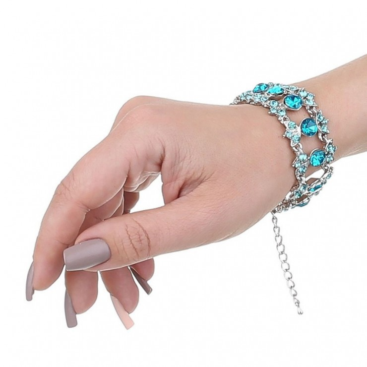 Ladies bracelet 452D with turquoise rhinestones