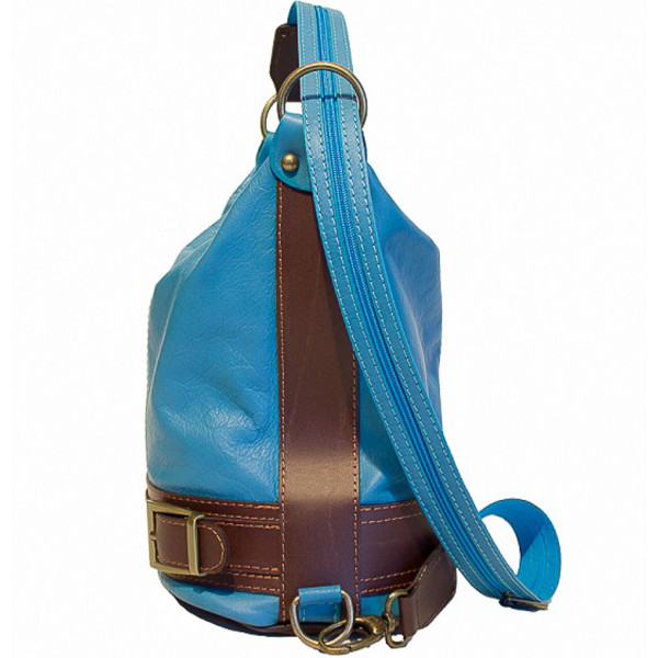 Dámska kožená kabelka/batoh 1201 oranžová Made in Italy
