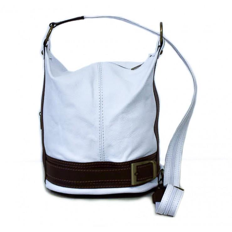 Dámska kožená kabelka/batoh 1201 bílá Made in Italy