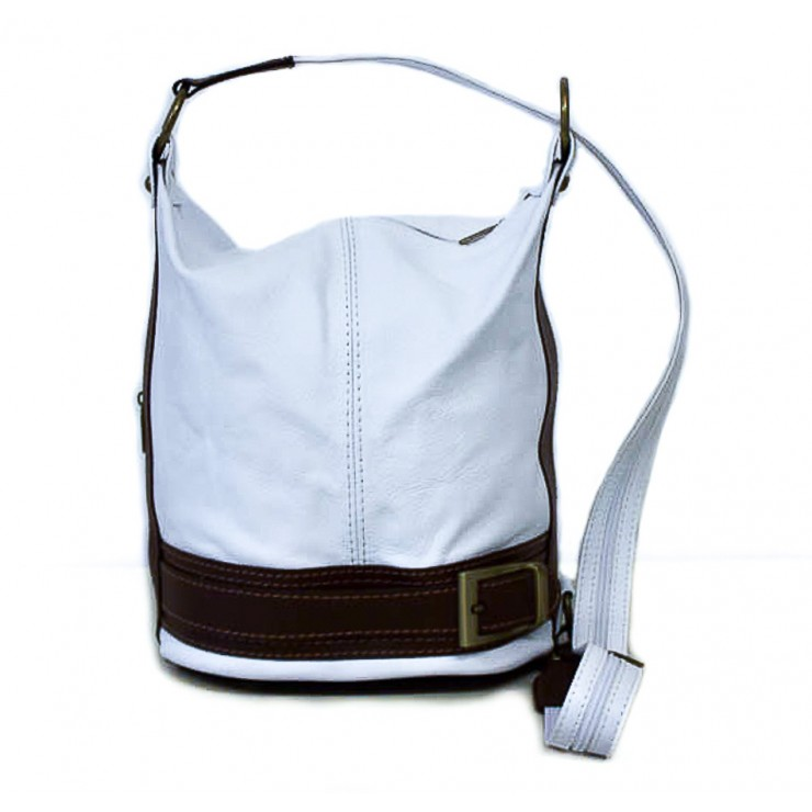 Genuine Leather Shoulderbag/Backpack 1201 white Made in Italy