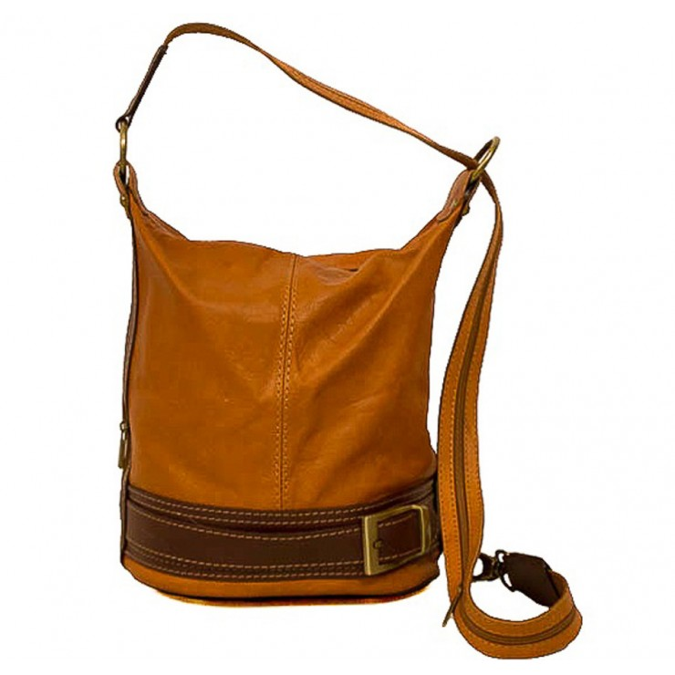 Genuine Leather Shoulderbag/Backpack 1201 cognac Made in Italy