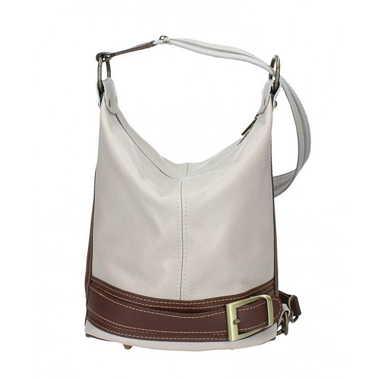 Dámska kožená kabelka/batoh 1201 šedá Made in Italy